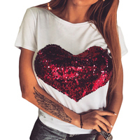 Sequined Red Heart Womens T Shirts Short Sleeves Camisetas Female All Match Cute Vogue Summer Causal