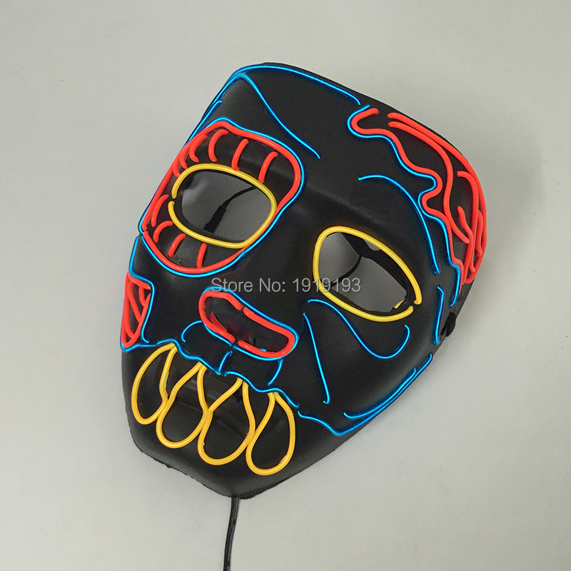 3D Colorful Iron Man Led Strip Figure Mask Birthday Kids Gift Light Up EL Jungle Hunter Role Mask Grand Event Party Supplies