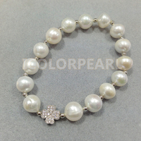 17 20CM / 10 11mm White Nearround Natural Freshwater Pearl And Silver Flower With Rhinestone Bracelet