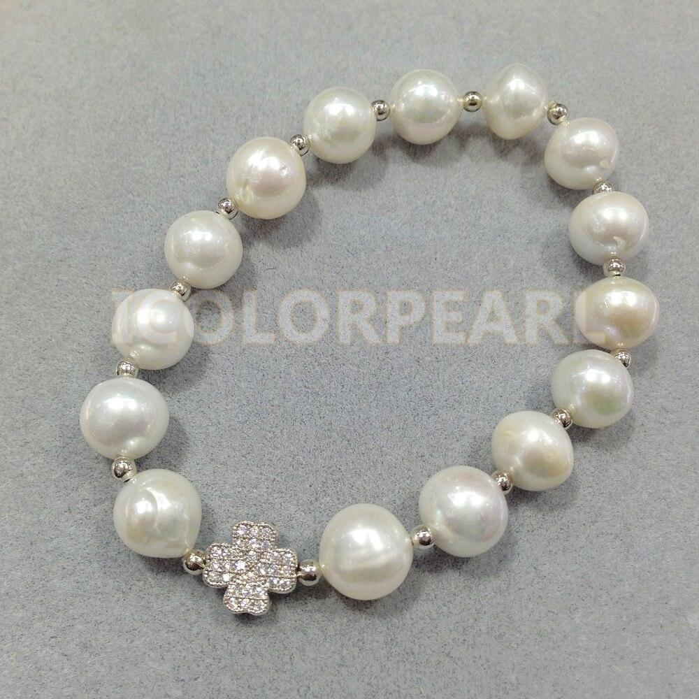 WEICOLOR 17-20 CM/10-11mm Blanc Nearround perle d'eau douce naturelle Et Argent Fleur Avec bracelet à strass