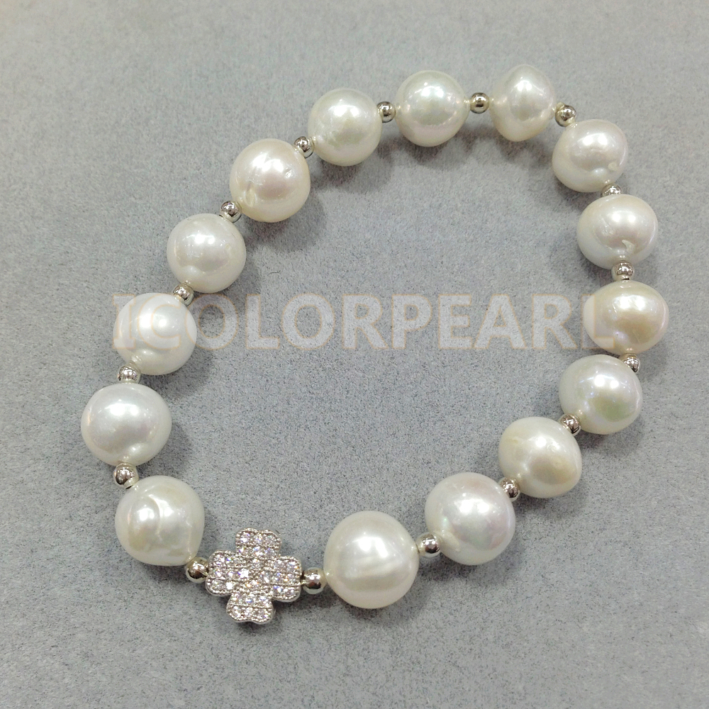 WEICOLOR 17-20CM / 10-11mm White Nearround Natural Freshwater Pearl And Silver Flower With Rhinestone BraceletWEICOLOR 17-20CM / 10-11mm White Nearround Natural Freshwater Pearl And Silver Flower With Rhinestone Bracelet