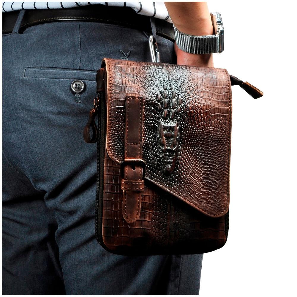 Fashion Mens Leather Multifunction Messenger Mochila Bag Design Phone Case Travel Pouch Hook Belt Waist Bag Pack Male 611-1d