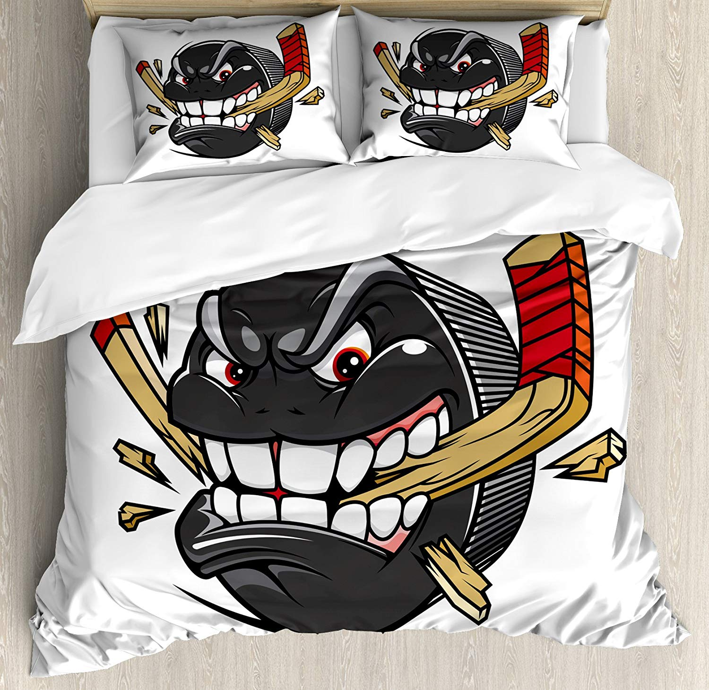 Hockey reine taille housse de couette ensemble bande dessinée Hockey Puck morsures pauses bâton de Hockey championnat jeu mascotte personnage ensemble de literie