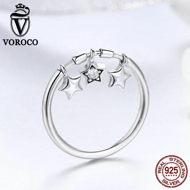VOROCO 2019 Hot Sell Trendy Silver Ring Authentic 925 Sterling Silver Dangle Star Dazzling Finger Rings Girl Jewelry Gift BKR406
