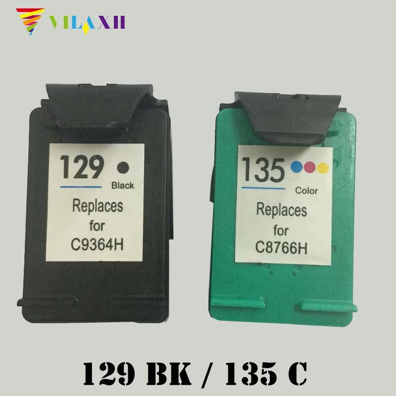 Vilaxh 129 135 Penggantian Kartrid Tinta Kompatibel untuk HP 129 135 untuk Deskjet 5940 5943 D4163 6983 Photosmart 2570 2573 printer