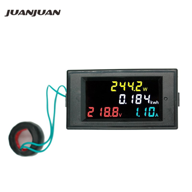 100A AC Full LCD Digital 22000W Power Energy Meter Monitor KWh Voltmeter Ammeter