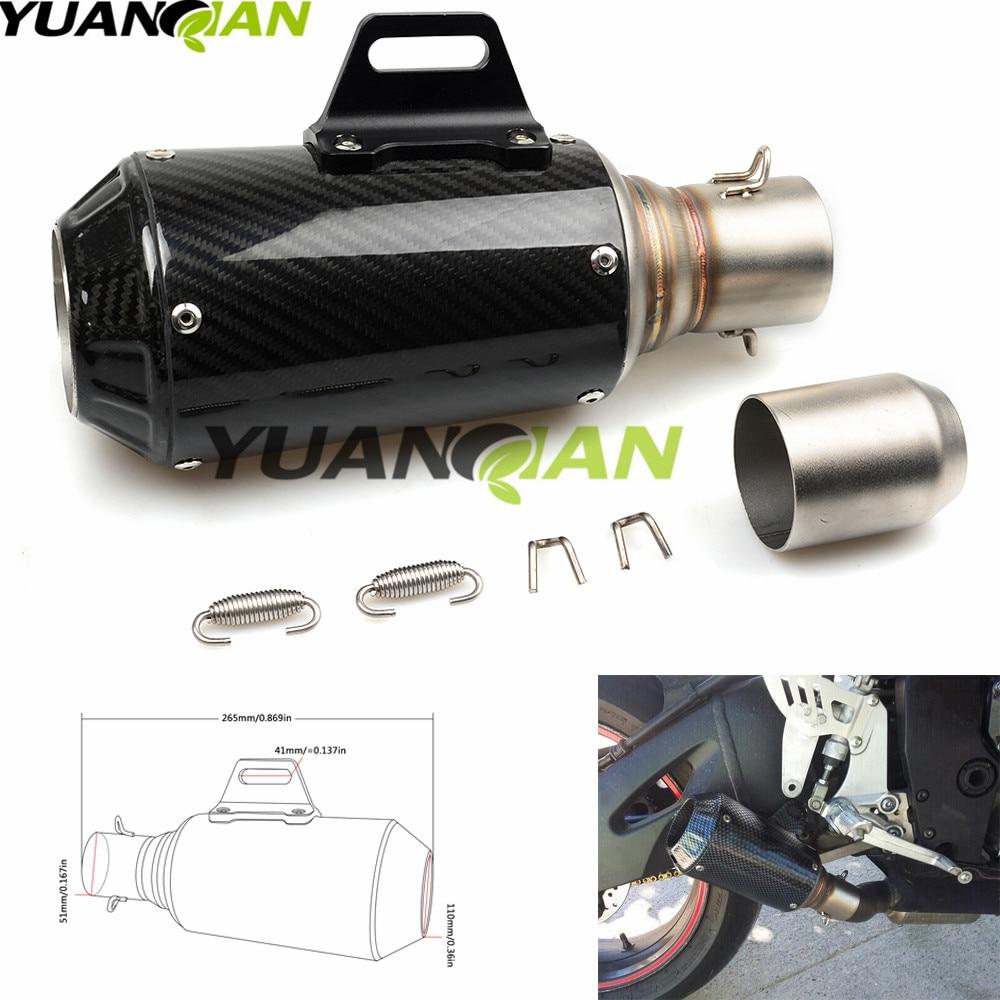 цена на  36-51mm Carbon Fiber Motorcycle Exhaust Muffler Modified Exhaust Pipe For Suzuki GSX-R GSXR 600 750 1000 K1 K2 K3 K4 K5 K6 K7 K8