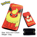 Anime Pokemon Flareon Umbreon With Zipper Cartoon Logo PU Leather Long Wallet Money Bag Burse Notecase Purse