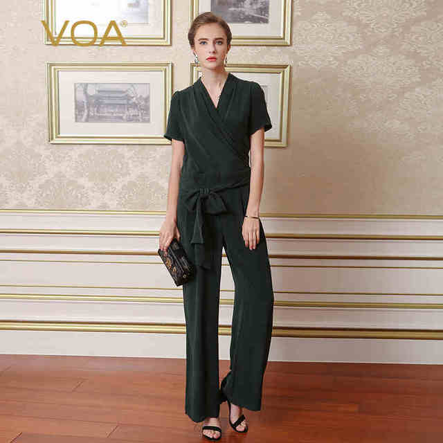 6c0ba369075de5 VOA Heavy Silk Jumpsuits Women Large Size Jumpsuit Belt Casual Dark Green Short  Sleeve V Neck Summer Long Wide Leg Pants K6576