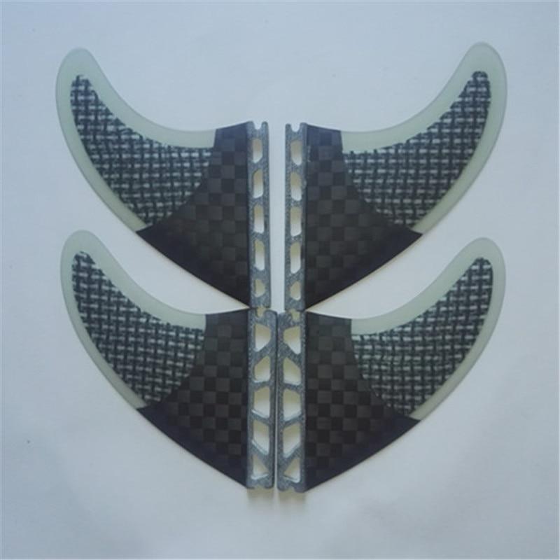 Srfda nouveau design en fiber de verre en nid d'abeille et carbone quad fin set 2L + 2 m quad planche de surf ailettes