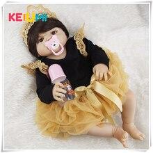 Новые Стиль белый чернокожая кукла Детские куклы 23 дюймов ручной работы для новорожденных девочек полный силиконовые виниловая кукла с карими глазами для продажи