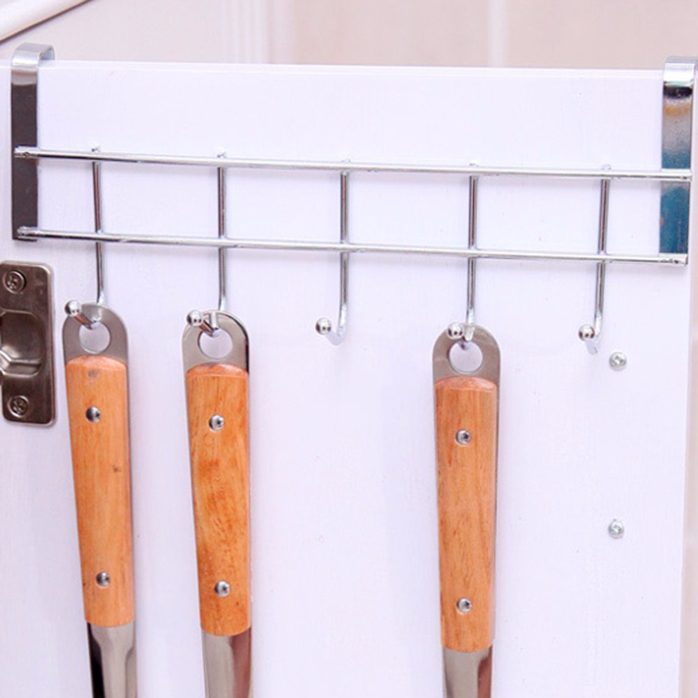 1PC 5 Hooks Stainless Steel Clothes Hooks Door Bathroom Kitchen Cabinet Draw Bedroom Towel Hanger hanging Loop Organizer