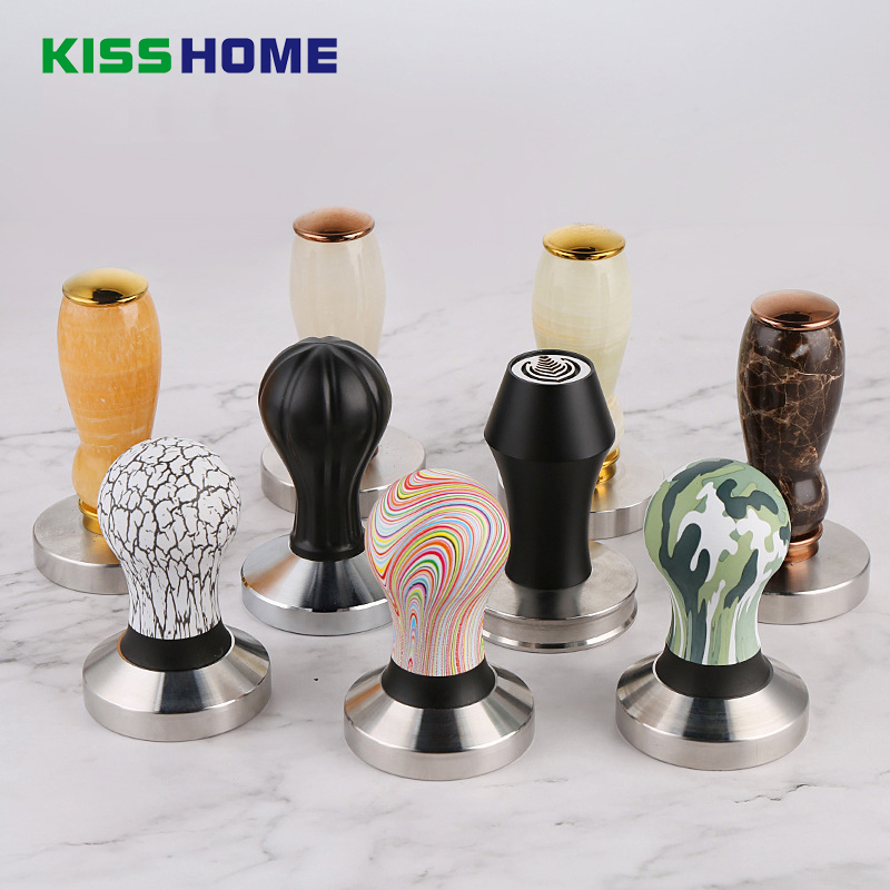 Barista Espresso Coffee Tamper Solid Jade/Printed Frosted Handle 58MM Stainless Steel Base Coffee Powder Hammer Coffee ToolsBarista Espresso Coffee Tamper Solid Jade/Printed Frosted Handle 58MM Stainless Steel Base Coffee Powder Hammer Coffee Tools