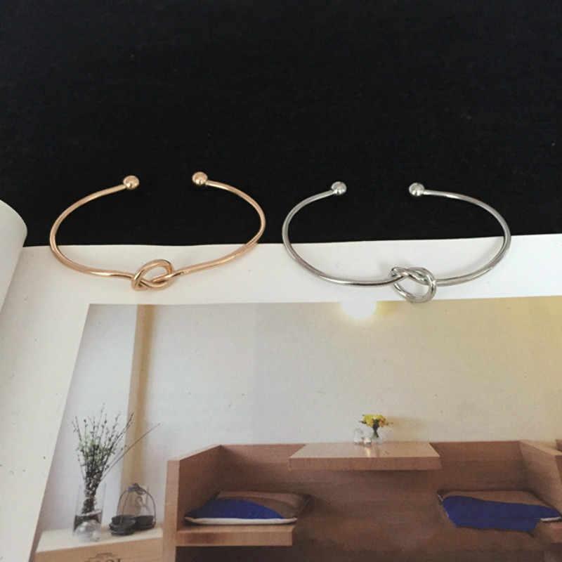 Caliente moda bohemio minimalista brazalete niñas anudada apertura pulsera para mujer joyería