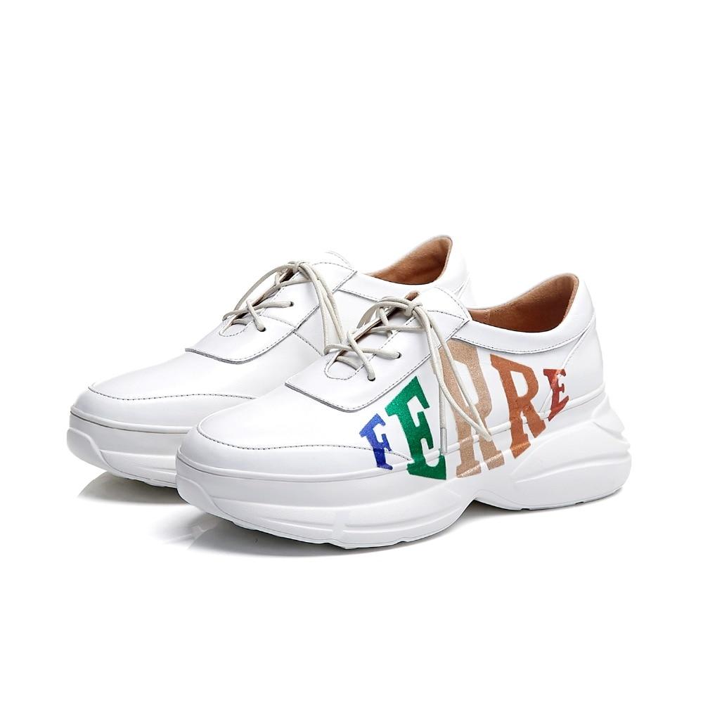Décontracté Femmes Plate Lvabc 2019 Baskets Taille Vulcanisées 40 Élégant forme Bout Chaussures White Croissante 34 En Vache Cuir Grande Solide De Rond 9YWHED2I