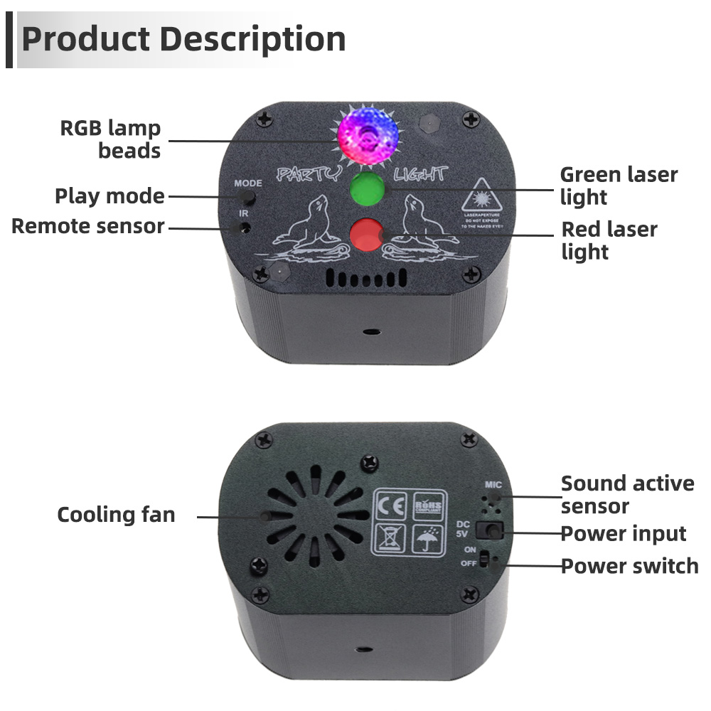 Image 3 - Aimkeeg Mini USB Charge DJ Disco Light Strobe Party Stage Lighting Effect Voice Control Laser Projector Light for Dance Floor-in Stage Lighting Effect from Lights & Lighting