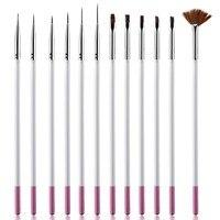 Professional 12Pcs/Set Nail Art Brush Design Painting Tool Pen Polish Brush Set Gel UV Nail Print Brushes Kit Makeup