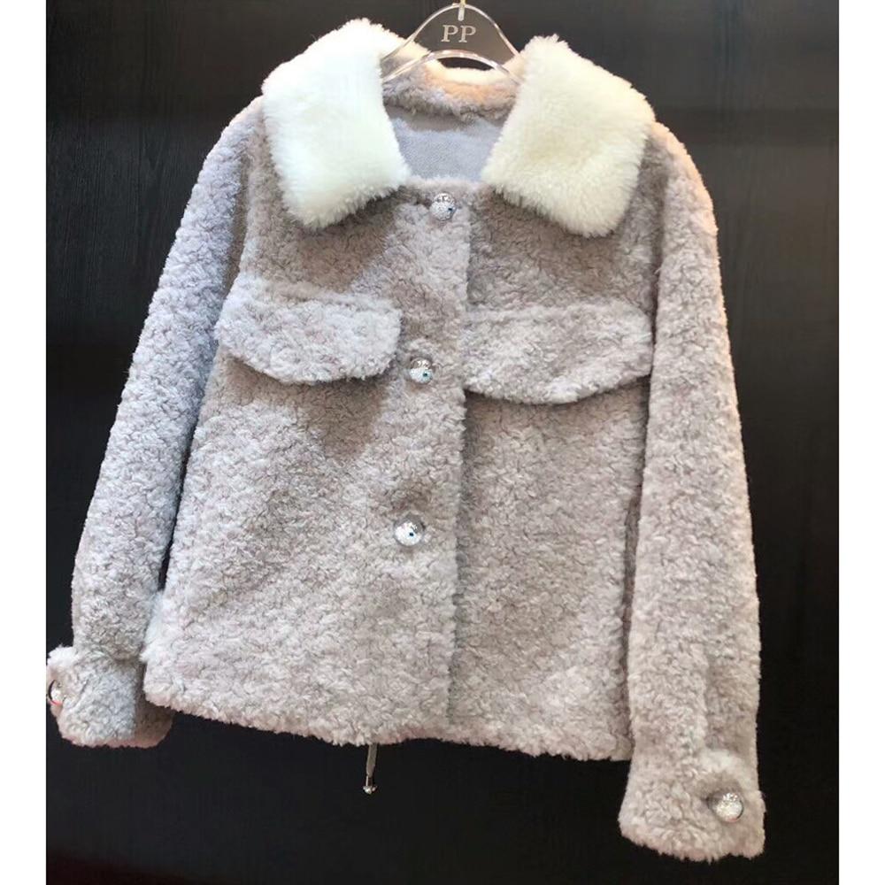 Gris Outwear Veste Femelle Naturel 100 Laine Mouton Fourrure Réel Rose Bleu De Manteau D'hiver F7B8qw