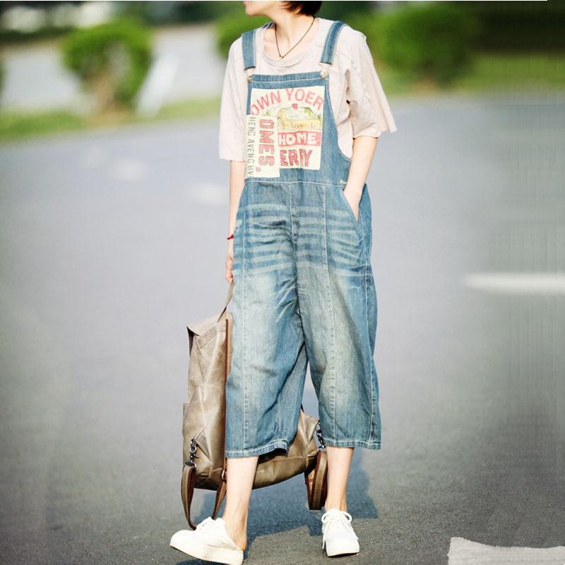 26ab4af1ee5 Fashion New Plus size Denim Overalls Women Jean Jumpsuit Boyfriend Wide Leg  Jeans Harem Pants