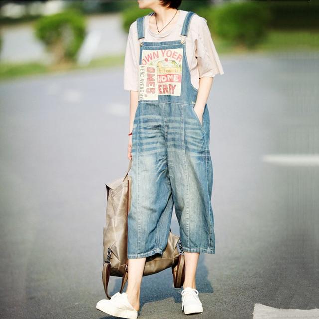 3fb71cb4c22 Fashion New Plus size Denim Overalls Women Jean Jumpsuit Boyfriend Wide Leg  Jeans Harem Pants