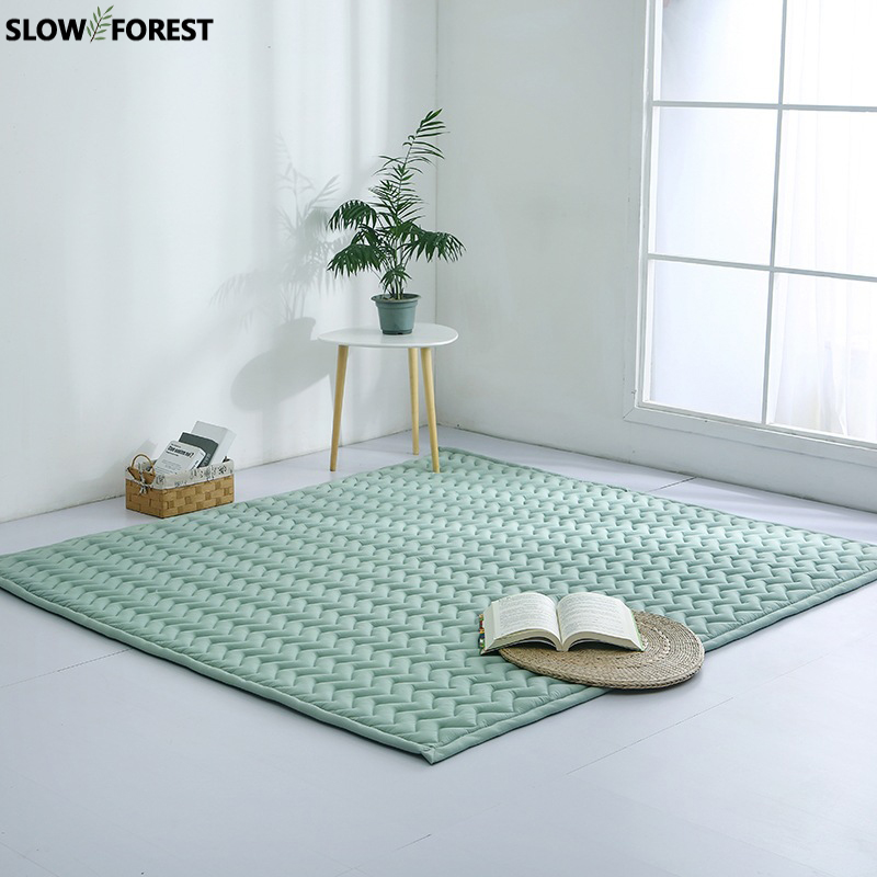 Lent arbre tapis de style japonais salon tapis Simple Table basse chevet tapis solide couleur épaissir enfants ramper tapis de jeu
