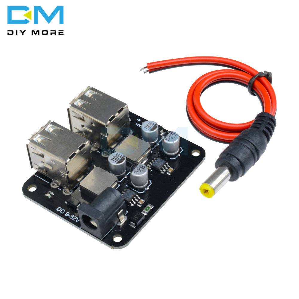 DC 12V 19V 24V to 5V 6A Power Step Down Module 4 Four USB Mobile Car Charger Diy Kit Elect