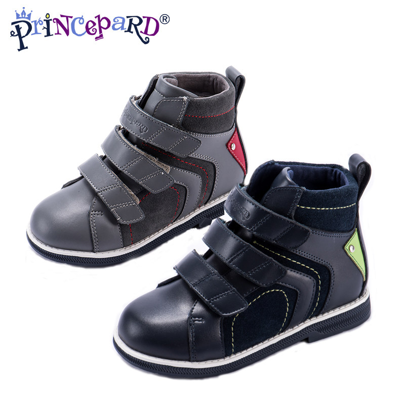 4b7734023d Princepard 2018 autumn new casual orthopedic shoes for boys gray navy  genuine leather children orthopedic shoes