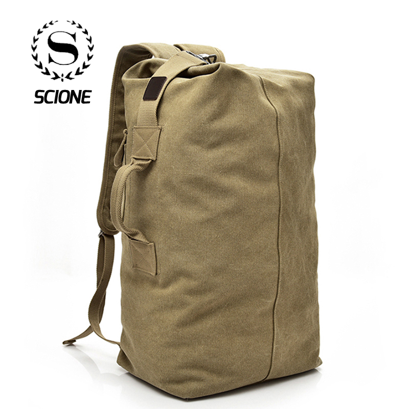Scione Men Outdoor Backpacks Large Capacity Multifunction Travel Unisex Canvas Bagpacks High Quality Casual Shoulder Tote Bags