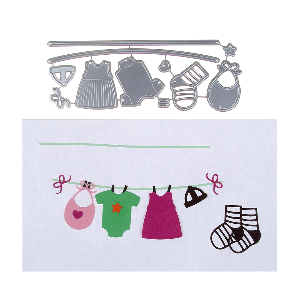 HamyHo Metal Cutting Dies Baby Clothes Line Dies Embossing Scrapbooking Craft Dies Cuts Stamp Creat Paper Card Stencil