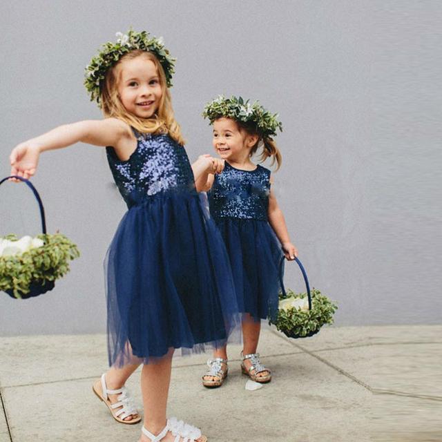 09d8112064e9 Blingbling Sequin Navy Blue Flower Girl Dresses for Weddings Pretty ...
