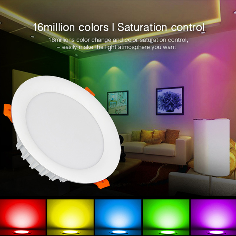 New milight 18W RGB+CCT LED Downlight dimmable smart Indoor living room light AC 220V Mobile phone control & 2.4G remote control(China)