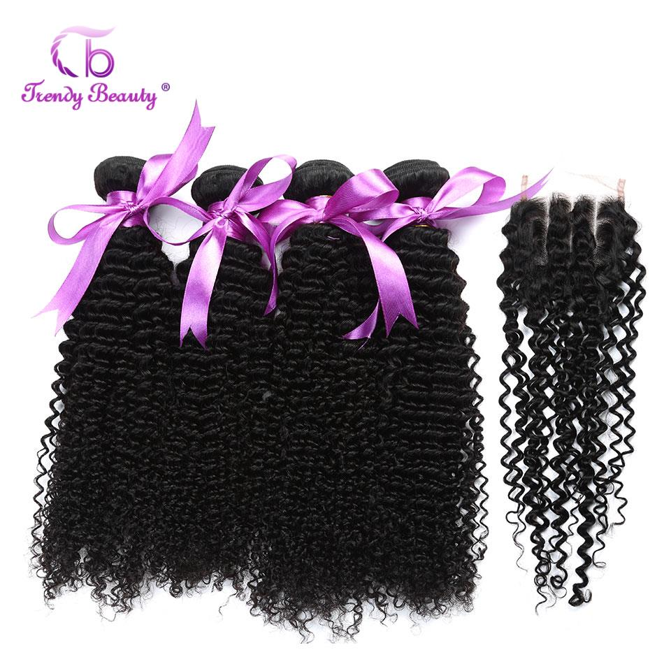 5pcs deal Malaysian Afro kinky curly non-remy 100% human hair extensions 4 bundles with closure natural black color can be dyed