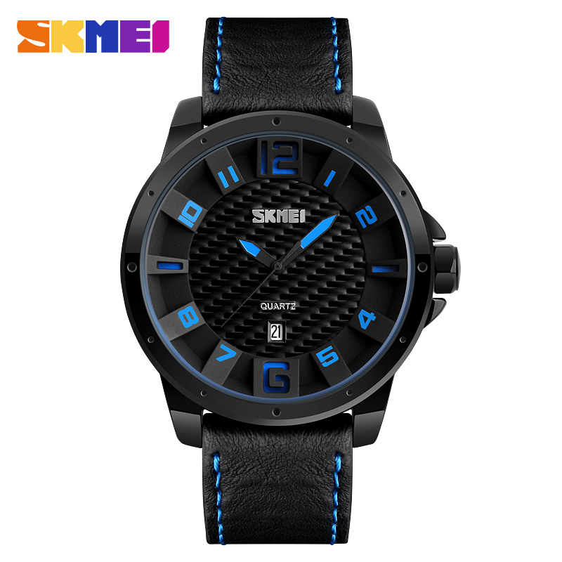 SKMEI Men Fashion Sports Watches Calendar Watch Leather Strap Quartz Wristwatches 30M Water Resistant Relogio Masculino 9150 skmei 9058 fashion men watches water resistant dress watch analog display quartz wristwatches