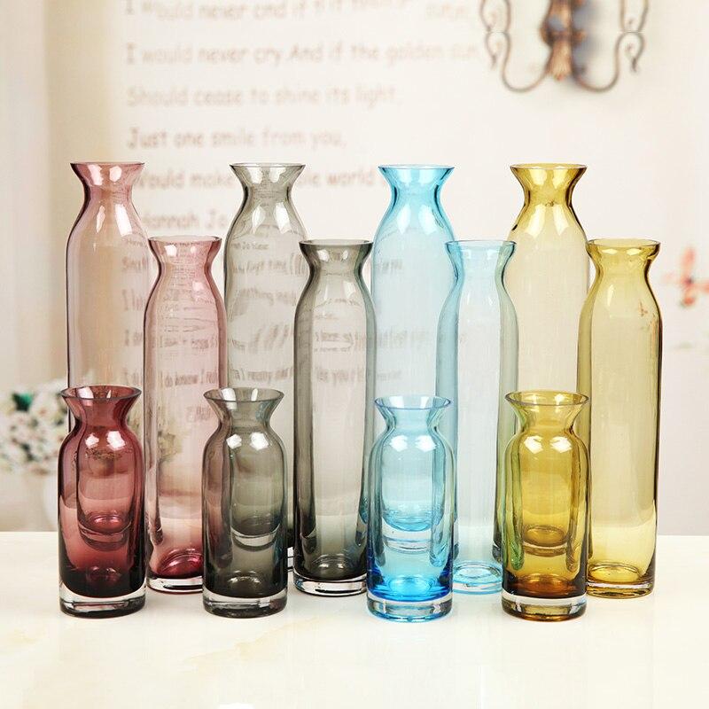 tipo de europa de color artesanas florero de cristal estilo largo florero hogar decoracin de la