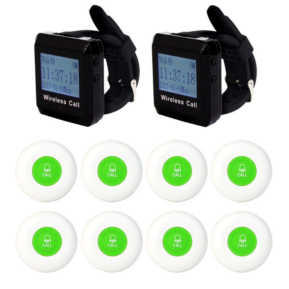 Wireless Pager System Call Restaurant Equipments Waiter 2pcs Wrist Watch Receiver+ 8pcs Green Call Transmitter Button 433MHz