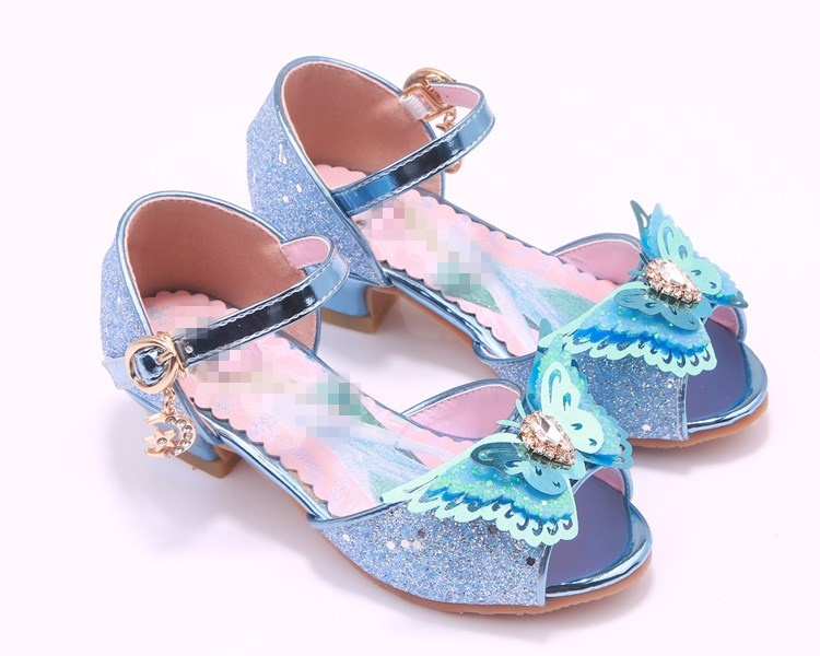 Children girl Glitter butterfly princess Sandals Girls dance Shoes high-heeled Party Shoes 27-38 3colors TX03