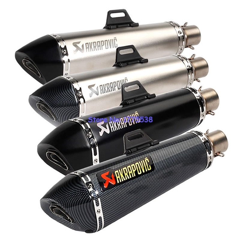 ID:51mm Universal Motorcycle Akrapovic Exhaust Muffler Silencer Carbon Fiber Color Motorbike Muffler Exhaust Pipe Escape Damper inlet 51mm universal exhaust motorcycle for akrapovic muffler pipe modified large displacement carbon fiber color db killer 51