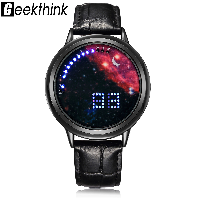 GEEKTHINK Fashion Casual Luxury brand Digital Led Watch Women Unisex Wristwatch Casual Luxury Male Clock Creative gift