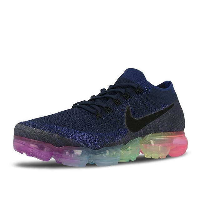 pretty nice 0ae38 c2340 US $45.53 67% OFF|Original Nike Air VaporMax Be True Flyknit Breathable  Men's Running Shoes Sports New Arrival Official Sneakers Outdoor Rainbow-in  ...