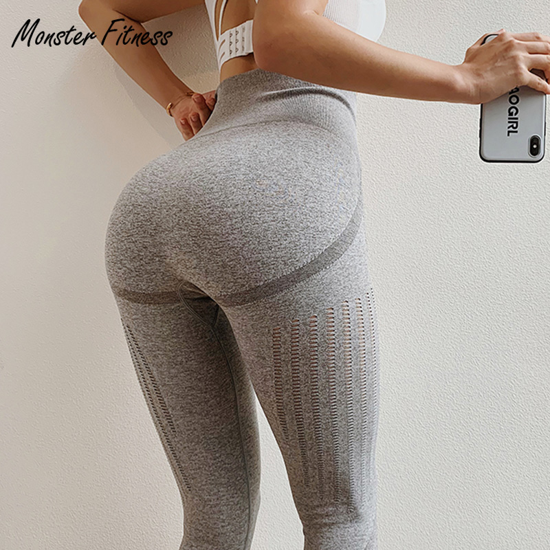 831efcf027c7d Monster 2019 Grey Blue Gym Tights Yoga Pants Women High Waisted Tummy  Control Sport Leggings Fitness