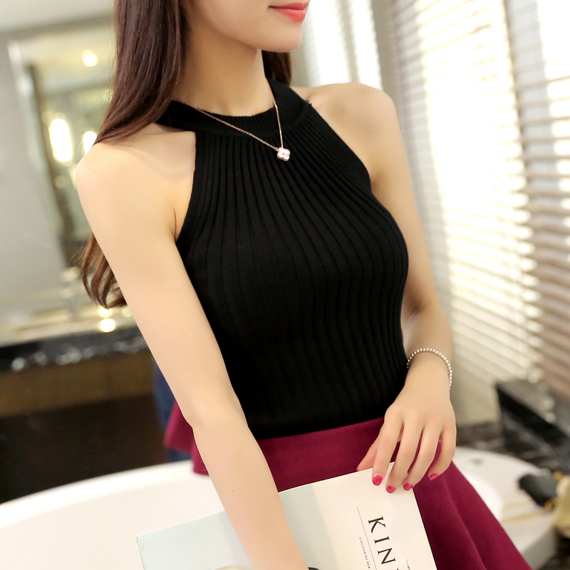 Women Spring Summer Sweater tanks sleeveless Knitted Camis Slim Halter Neck Sexy Strapless 9