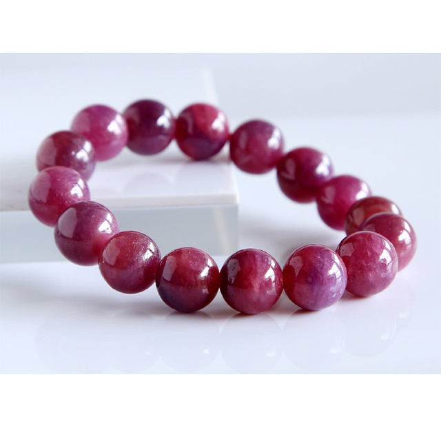 Free Shipping Whole Natural Genuine Pink Red Ruby Bracelet Smooth Round Beads Finished Stretch Bracelets