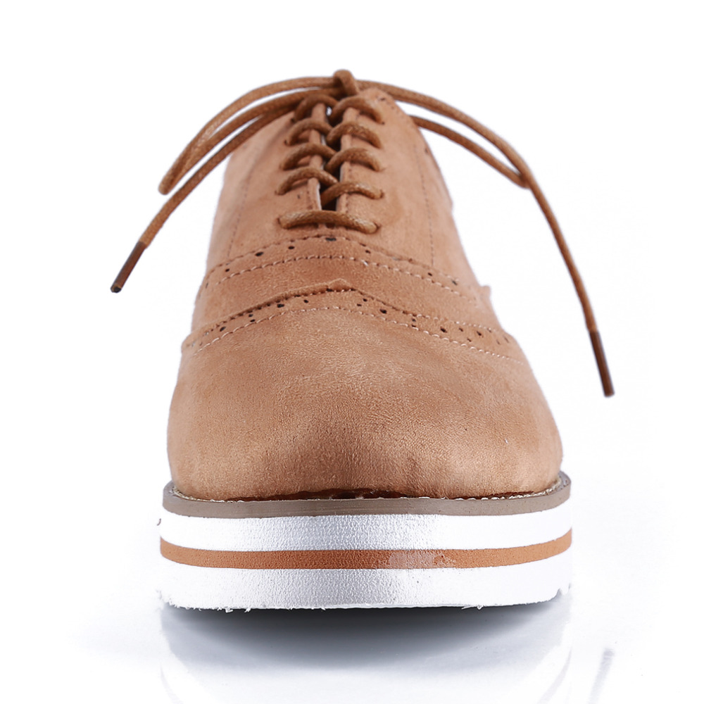 Plus Size 35-43 Women Flat Hollow Platform Shoes Oxfords British Style Ladies Creepers Brogue Shoe For Female Lace Up Footwear 5