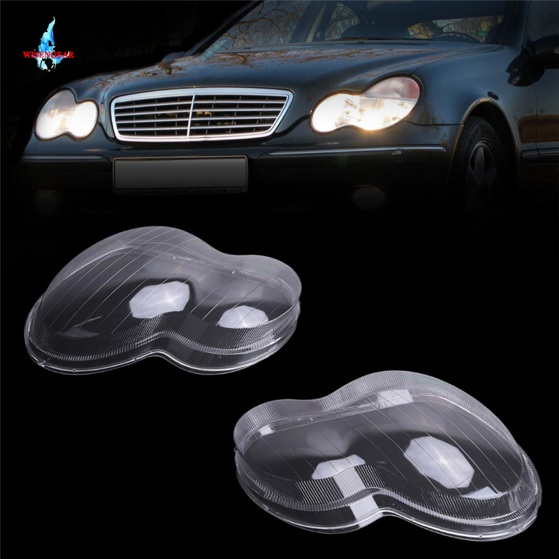 WISENGEAR Headlight Cover Glass Lens Shell Lamp Housing Covers For Mercedes Benz W203 C Class C230