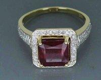 Fine Jewelry Vintage Solidna 14Kt Żółte Złoto 4.60Ct Ogrzewane Red Ruby Kamień Pierścień