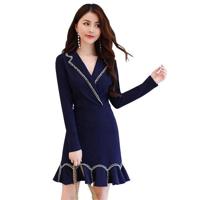 4a46f7aa6f Free Shipping 2017 New Autumn Korean version Vintage Women Dresses Elegant  Suit Collar Bodycon Mermaid Office Dress
