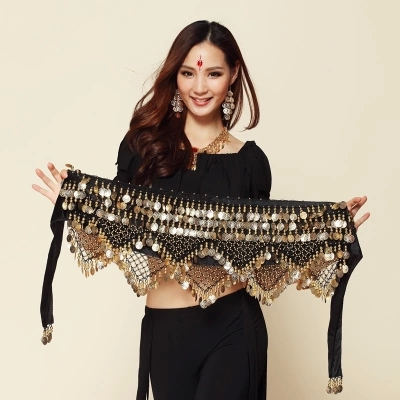 New Style coins belly dance waist chain hip scarf bellydance belt, 9 colors for your choice. title=