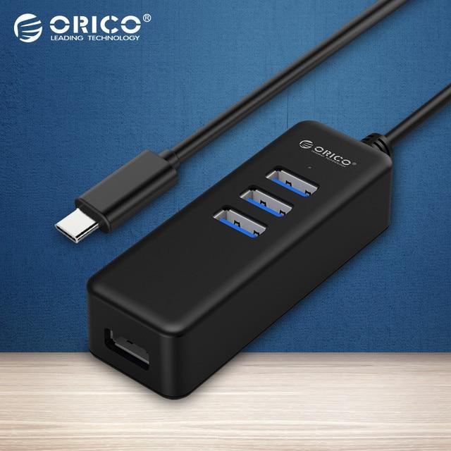 ORICO W10PH4-C3 Mini 3.0 Portas USB 4 Tipo-C Hub 5 Gbps de Alta Velocidade para Computador Portátil Telefone Tablet Ultrabook-Preto
