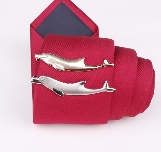 Cute Dolphin Shape Tie Clip Tie Bar Pins Top Quality Tie Clips Gold And Silver Men