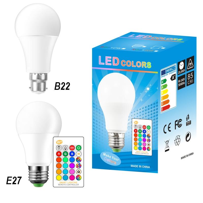 LED Lamp Light Bulb E27 B22 5W 10W RGB+RGBW+RGBWW Light AC85-265V Lampara 16 Colors Remote Controller Bombillas Led Home Decor
